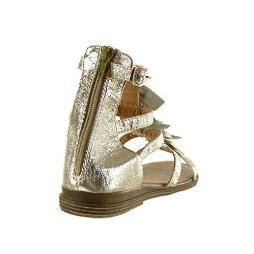 Chaussures Angkorly Fashion Sandales Mules Gladiator Femme Franges Multi-bridon Thong Block Talon 2.5 Cm Or