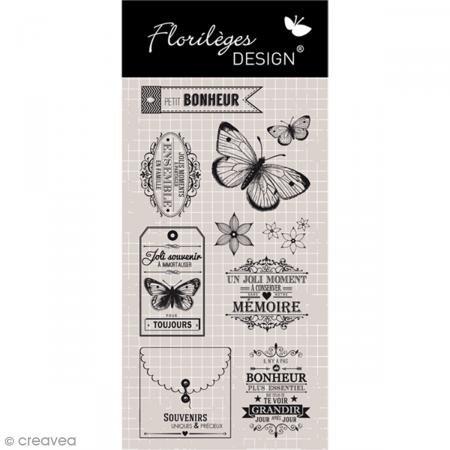 Florilèges Design FDCL115005 Scrapbooking-Stempel, Versch. Texte (auf Französisch), Beige, 25x11,5x 0,5 cm