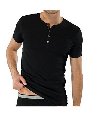 SCHIESSER Herren T-Shirt mit Knopfleiste Naturbursche 2er Pack Black