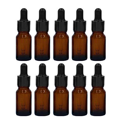 MINGZE 10 piezas Cuentagotas de botellas de vidrio para aceites esenciales, botellas de vidrio recargables...