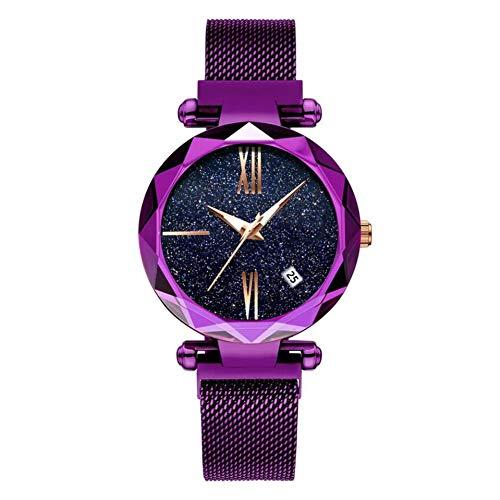 VIMOER Damen Sternenhimmel Uhr Wasserdichte flackernde Quarzuhr mit Kalender, Magnetband Armbanduhr Edelstahl Armband, 5# (Vogue Uhren Frauen)