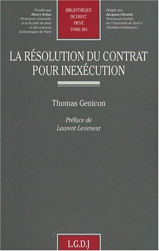 La résolution du contrat pour inexécut...