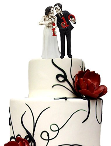 Ebros Day Of The Dead Hochzeit Skelett Bride & Groom halten I Do Schild Figur Tortenaufsatz 15,2 cm H Love stirbt nie Hochzeitsfeier Skelett Liebhaber Statuen