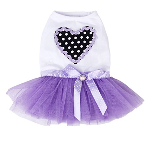 Süß Welpen Hund Kleid Lace Rock Princess Kleider Kleidung Party Rosa/Lila S-XL (Tiered Rock Saum)