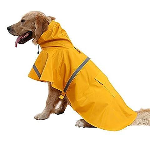 Haustier Hund Regenmantel Regenjacke Leicht Wasserdicht Kleider Mit Leinenhaken Atmungsaktiv Katze Regen Jacke Kapuzenponcho Verstellbar Mit Reflektierendem Streifen ( L )
