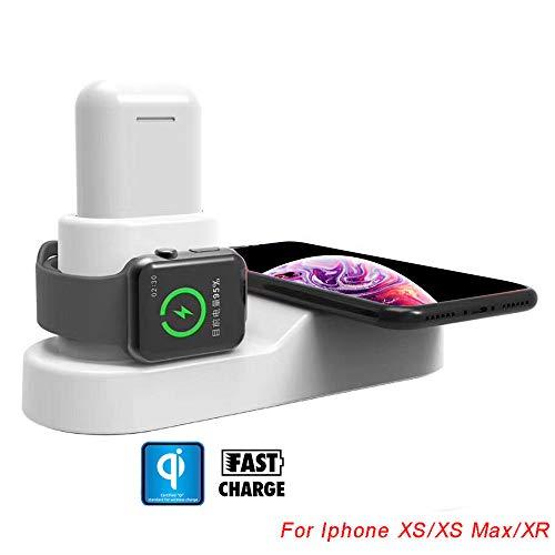 MMLC 10W Qi Wireless Charger 2 in 1 Ständer Ladegerät Dock Ladegerät für Apple Watch Cradle Halter Halterung Armbanduhr Ständer für iPhone XS/XS Max/XR Apple Watch iWatch 1 2 3 4 und Mehr (White) (Motorola Iphone 5 Auto-ladegerät)
