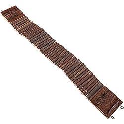 Escalera/puente colgante para jaula de animal doméstico; ideal para roedores, loro, pájaro, etc. - Escalera o puente colgante de madera; juguete flexible de madera natural masticable
