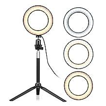 6 Inch Mini LED Ring Lite Fotografie lamp dimbare 3 Licht modi USB Aangedreven met telescopische Fotografie & grafische vormgeving (Color : Black)