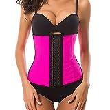 HURMES Women's Latex Sport Girdle Waist Trainer Corset - 3 Hook Long Torso Underbust Body Shaper Weight Loss (Pink, S)