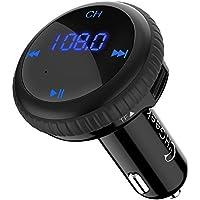 Transmisor FM Bluetooth 4.2, CHGeek Radio Adaptador Inalámbrico de Coche con GPS Localizador de Vehículos, 5V 2.1A Doble Puerto USB Cargador para Samsung Galaxy, Xiaomi, iPhone, iPad, HTC - Negro