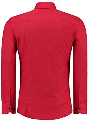 Jeel Herren Hemd Langarm Slim Fit / Figurbetont in schwarz, weiß,rot, gelb, blau uvm. Rot/Schwarz