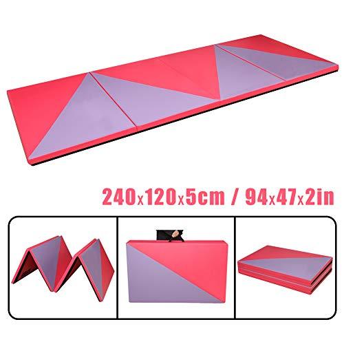 CCLIFE 240x120x5cm Rot&Lila Weichbodenmatte Turnmatte Klappbar Gymnastikmatte, Farbe:Rosa&Lila, 3-Fach faltbar