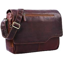 STILORD 'Marvin' Bolso Bandolera de Piel para Hombre y Mujer Bolsa de Mensajero para portátil de 15,6' Maletín Unisex de auténtico Cuero Vintage, Color:Cognac marrón Oscuro
