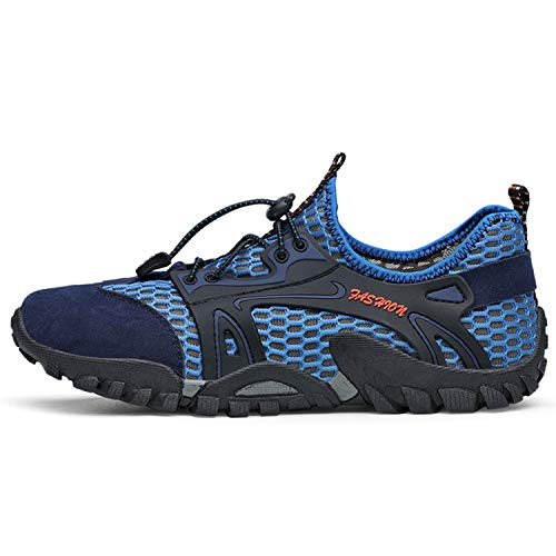 2019 Summer Breathable Mesh Sneakers Men Shoes Casual Genuine Leather Outdoor Wading Shoes Comfortable Male Footwear Blue 38