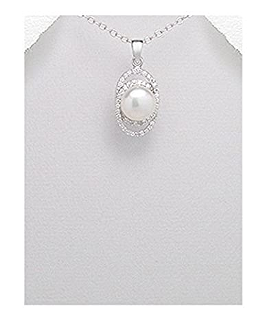 Bridal Style 925 Sterling Silver & White Freshwater Pearl & CZ Oval Pendant