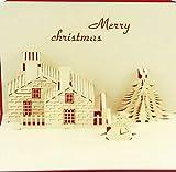 BC Worldwide Ltd origami fatti a mano papercraft pop-up pop up 3D carta natale, Biglietto natalizio, cartoline natalizie, biglietti d'auguri, albero di pupazzo di neve, casa del fienile del cottage della casa del mattone di festa