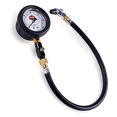 Dans Auto 60 PSI Professional Tire Air Pressure Gauge with Flexible Hose and Bleeder Valve - Liquid Filled and Easy to Read for Cars and