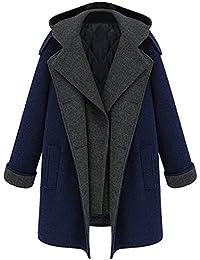 EOZY Parka à Capuche En Laine Amovible Manteau Bleu Femme Chaud Blouson Hiver