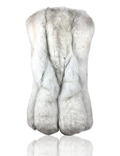 Uilor® Frauen-natürliche Fox-Pelz-Weste V-Ansatz lang Weiß