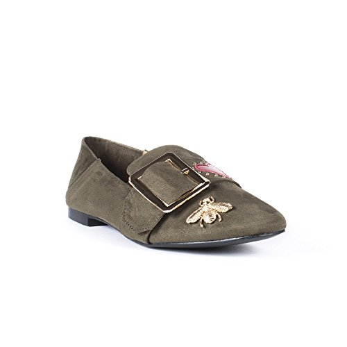 Ideal Shoes Slippers Effet Daim avec Strass et Clous Fadina Taupe