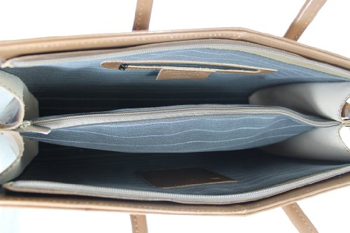 CTM Borsa Donna a Tracolla con Manici Porta Documenti Professionale, 40x30x12cm, Vera Pelle 100% Made in Italy Fango