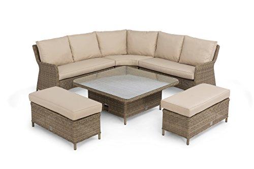 Maze Rattan Winchester quadratisch Ecke Rising Tisch-Bank-Set, gemischt braun, 120x 120x 69cm (Esszimmer Set Bank)