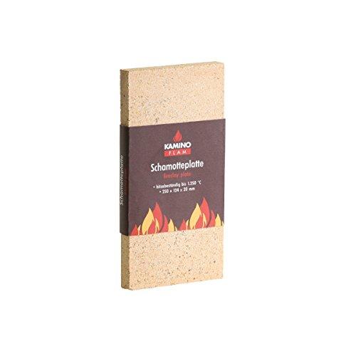 KaminoFlam Schamottstein für Kaminofen - Schamotteplatten für Ofen - Schamottplatten hitzebeständig bis 1250 Grad -  Vermiculite Platten 250x124x20 mm (Schornstein Ziegel)