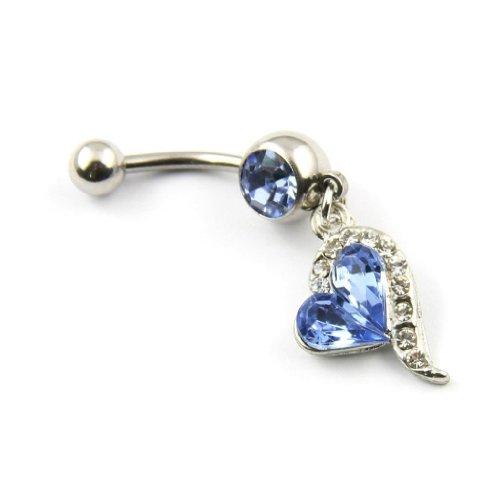 TOOGOO(R) 1pcs Blaue Diamanten eingelegten Silber Bauchnabel Ring-Krper-Piercing