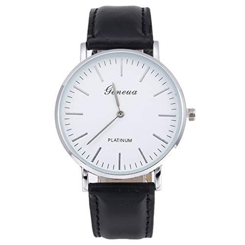 Armbanduhr herren Liusdh Uhren Geneva ultradünnes Zifferblatt mit weißem Zifferblattarmband uhr(C,Einheitsgröße)