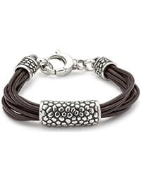 Leonardo Jewels Herren Armband Edelstahl Leder Men   01525