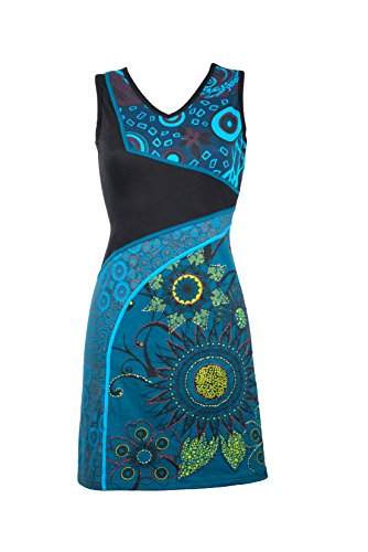 mit spielerischen Details und Ethno Muster – Hippie Chic - MIDORI (XXL) (Ausgefallenes Kleid Hippie)