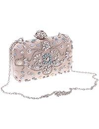 MagiDeal Luxury Woman Lady Rhinestone Messenger Clutch Bag Shoulder Chain Handbag Purse - apricot
