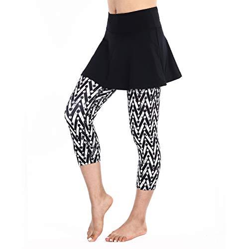 ANIVIVO Tennis-Leggings für Damen, Rock Capri-Leggings, Tennis-Hosen für Damen & Schwimmen Capri-Leggings mit Rock, Damen, Stripe Color, Small (Capri-rock)
