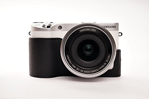 Handgemachte echte reale lederne Halbkameratasche Kameratasche für Samsung NX500 Schwarz