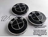 Komplett Schwarz Glänzend Abzeichen Emblem Vinyl Überzug Aufkleber Superwrappz Bezüge für BMW Haube Koffer Felgen Räder für Alle Serie 1,2,3,4,5,6,7,X1,X2,X3,X4,X5,X6,Z1,Z3,Z4,Z8,M Sport,