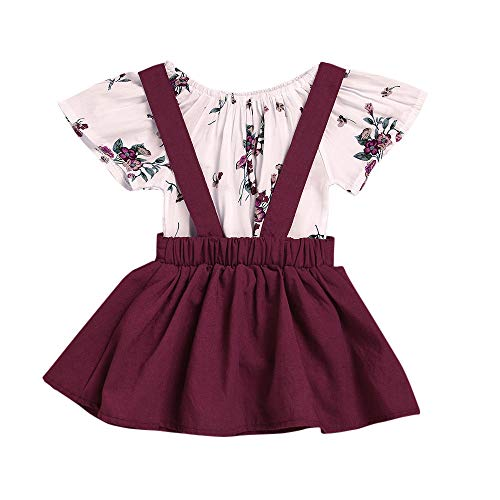 OVINEE 2 STÜCKE Neugeborenen Kleinkind Babyspielanzug Infant Girls Print Overall Kleidung Outfit Anzug Hemd + Gurt Rock Outfits Set