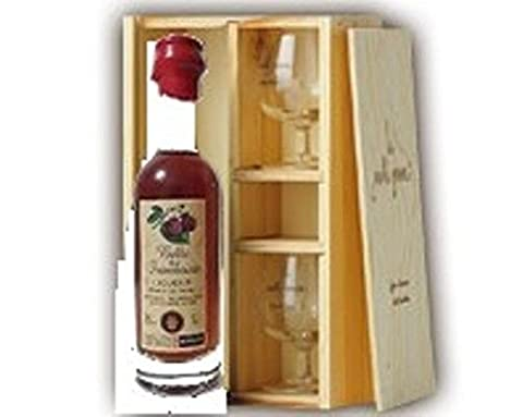 liqueur belle de framboise 35cl presente en coffret bois et ses 2 verres degustation louis roque
