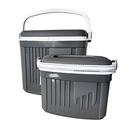 ToCi Kühlbox Groß und Klein | 2 Passive Kühlboxen (32 und 8 Liter) in Grau | Camping Kühltaschen-Set