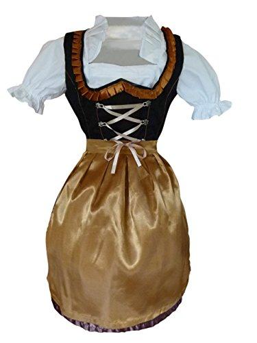 Di21 Mini Dirndl, 3 teiliges Trachtenkleid in schwarz gold, Kleid mit Bluse und Schürze, Gr. 44