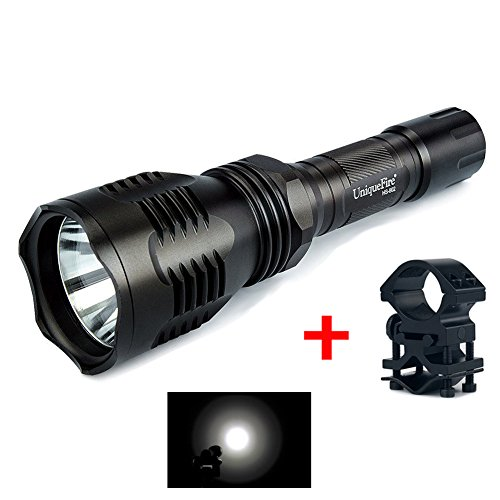 LED Torcia, UniqueFire Ricaricabile 1000 Lu Super LED Luminoso Searchlight Spotlight Torcia Flashlight Lanterna, Durevole Lega di alluminio materiale, 3 modalità di illuminazione, Con Picatiny Weaver Montare (Nero)