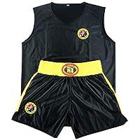 Yudesun Sanda Boxeo Artes Marciales Ropa Niños Adulto Unisex - Judo Rendimiento Muay Thai Karate Kungfu Performance Escenario Estilo Chino Traje Lucha Negro 140cm