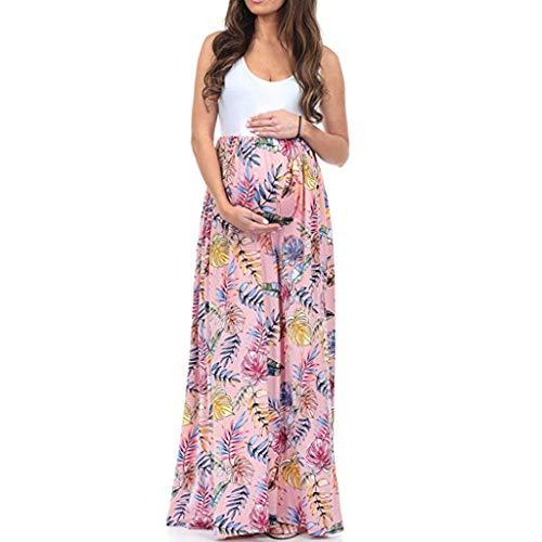 MISSWonggUmstandskleid Schwangeren Kleider 2019 Frauen Ärmel Mutterschaft Schwangerschaft Kleidung Kleid Geraffte Farbe Block Maxi Spleißen Kleid Schwangerschaftskleid Stillkleid -