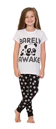 Nette Mädchen wachen kaum Panda-lange Pyjamas Schwarzweiss Pj 9-16 Jahre auf (11-12 Jahre 154cm) (Schlafanzug Nettes Mädchen)
