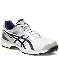 ASICS Men's Gel 220 Not Out White, Indigo Blue and Silver Cricket Shoes - 12 UK