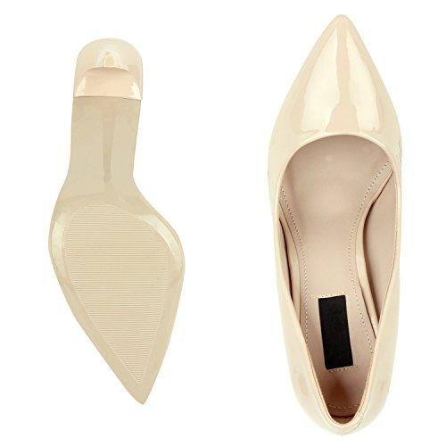 Stilvolle Damen Pumps   Modische Akzente durch spitze Schuhform & Lack   Party oder Business Nude