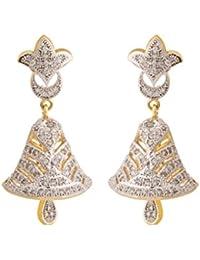 Rajwada Arts Gold Colored Cubic Zirconia Brass Traditional Hanging Jhumki Earring For Women