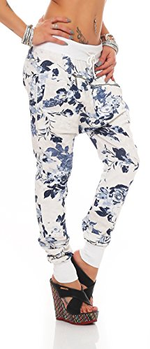 "Mr.Shine - Trendy Damen Boyfriendhose Freizeithose Jogginghose Sweat Pants All-Over Print ""Big Rose"" Jogger Baggy Loose-Fit Hose Wei§"