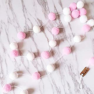 Acidea Wanddeko, 2 m, mit 30 x Filzkugeln, Deko fürs Kinderzimmer, handgefertigt, zum Aufhängen, Girlande, White+pink+Gray, Free Size (Rosa + Weiß)