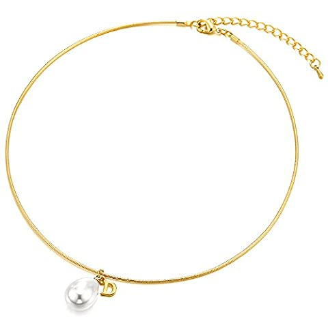 Ladies Gold Color Stainless Steel Metal Choker Necklace Collar Necklace