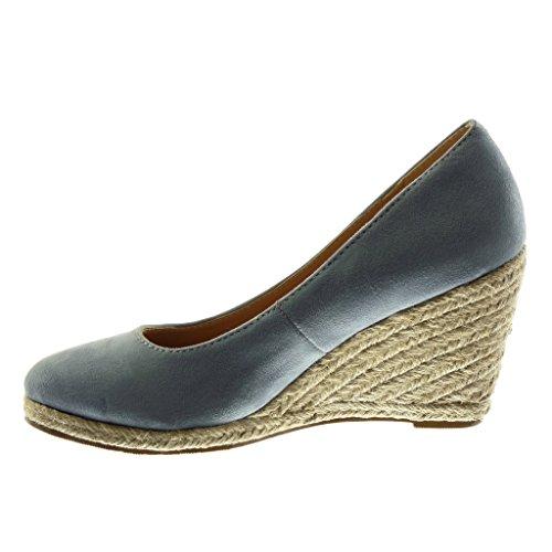 Angkorly Damen Schuhe Mule Espadrilles - Slip-On - Dekollete - Seil - Geflochten Keilabsatz High Heel 9 cm Blau